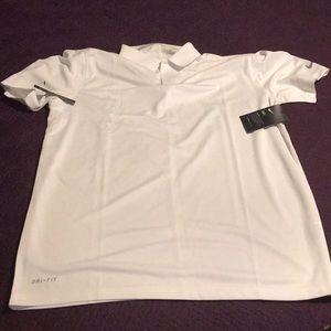 Mens Nike Polo White Dri Fit Golf Shirt Size L